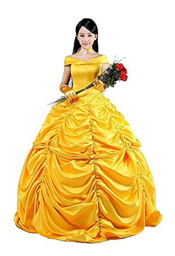 HalloweenCostumeParty Beauty and Beast Belle Costume Dress For Adults Woman(XXL) -