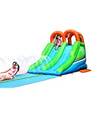 ACTION AIR Bounce House, Inflatable Waterslide with Water Sprinkler, Double Waterslide for Summer Fun, Slip Pad & Splashing Slide, Durable Sewn with Extra Thick, Great Summer Gift for Kids (9550)