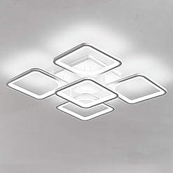 Interior Lighting Jaycomey Modern Ceiling Light,LED Chandelier Flush Mount,Square Shape White Ceiling Light for Living Room Bedroom,60W… modern ceiling light fixtures