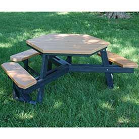 Jayhawk Plastics Hex Picnic Table - 6'L - Ada-Compliant - Black Frame - Cedar - Cedar