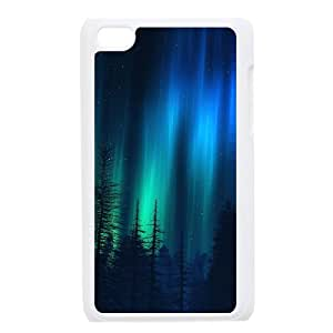SPRAWL Original New Print Hard Skin Case Cover Shell for mobilephone Interesting Fashion Design with Northern Lights TPU Phone case cover for ipod 4 white