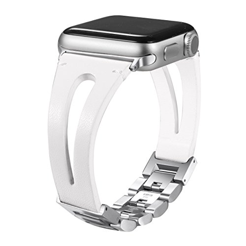 Secbolt 42mm/44mm Leather Bands Compatible Apple Watch Band Series 4 44mm, Series 3/2/1 42mm, Handmade Vintage Leather Bracelet, Hollowed White