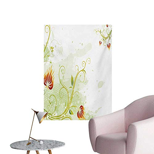 Anzhutwelve Floral Corridor/Indoor/Living Room Swirled Petals Lines on Grunge Background Retro Scroll Botany DesignPale Green Pistachio Ruby W20 xL28 Wall Poster ()