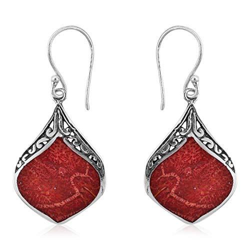 Boho Handmade Sponge Coral Dangle Drop Earrings 925 Sterling Silver Jewelry for Women Gift
