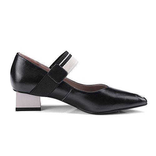 Neuf Sept Femmes En Cuir Véritable Bout Pointu Chunky Talon Branché À La Main Mary Jane Pompes Chaussures Noir