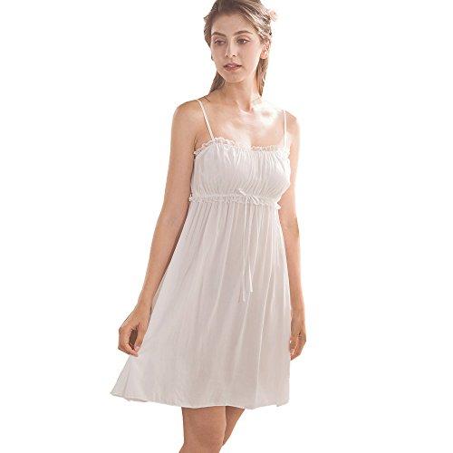 (Flaydigo Womens Sleepwear Nightgown,Spaghetti Strap Nightdress Cotton Sleeveless Victorian Nightshirt)