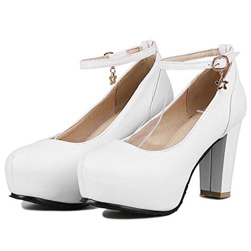 COOLCEPT Women Block Heels Sweet Ankle Srtap Skirts Pumps Court Shoes Extra Size White S4gAD361D