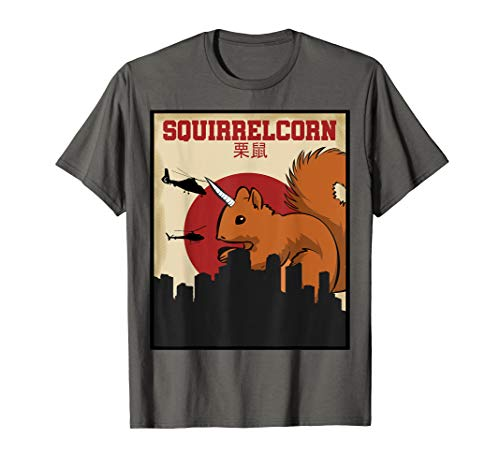 (Squirrelcorn T-Shirt Retro Unicorn Squirrel Poster Shirt)