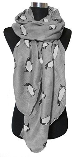 NO:1 Stilvolle Frauen Pinguin Muster Voile Lang Schals Halstuch Umschlagtücher Umhängetücher Trachtenhalstücher - Grau