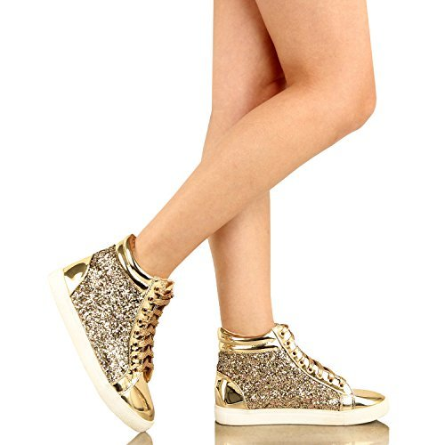 Guilty Shoes Womens Fashion Glitter Metallic Lace Up Sparkle Slip On - Wedge Platform Sneaker Fashion Sneakers … Fashion Sneakers, Goldv3 Glitter, 7.5 B(M) US