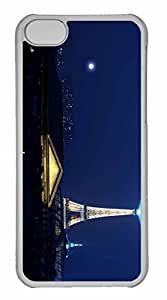 iPhone 5C Case, Personalized Custom Eiffel Tower At Night 2 for iPhone 5C PC Clear Case