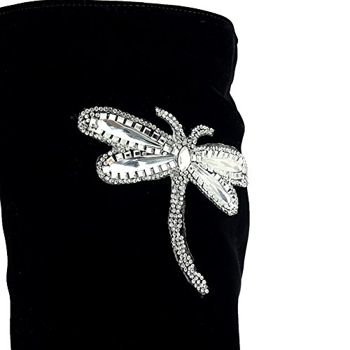 AllhqFashion Mujeres Puntera Redonda Plataforma Caña Alta Tachonado Botas con Diamante Negro