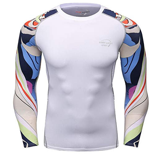 - Mens Compression Base Layer T-Shirt Blouse Long Sleeve Tops Shirts Cool Dry Wicking Skins Tee (XL, White)