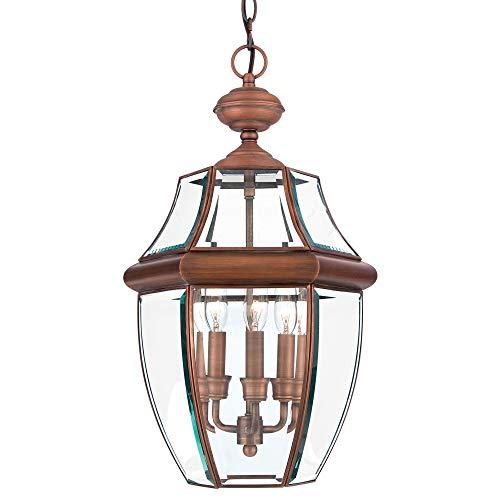 Quoizel NY1179AC Newbury Outdoor Pendant Lantern Ceiling Lighting, 3-Light, 180 Watts, Aged Copper (21