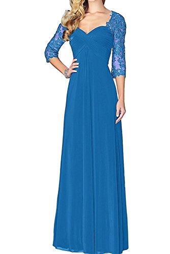 Blau Brautmutterkleider Festlich Abendkleider Langarm La Dunkel Partykleider Damen Braut Fuchsia Marie 4nn8S7Rv