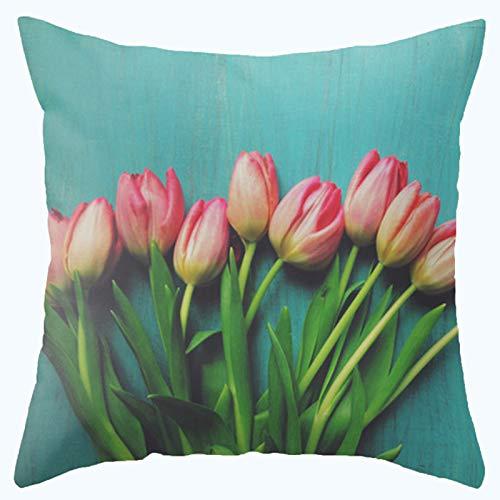 - L&J.ART® High Quality 45cmx45cm 18''x18'' Super Soft Cotton Velvet Cyan Tulip Flower Pillow Case Cushion Cover
