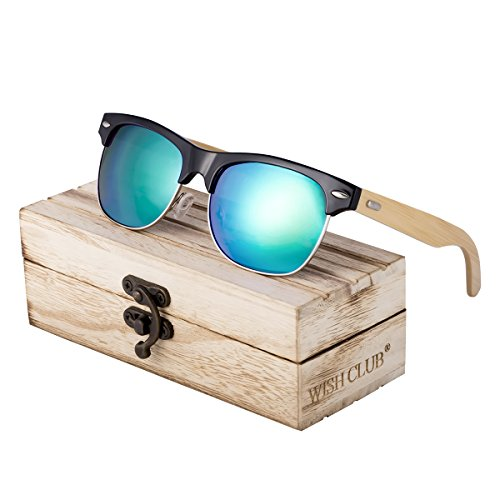 WISH CLUB Half Frame Handmade Wood Temple Square Wayfarer Sunglasses UV Lenses Club Master Classical Style for Women and Men Adults Wooden Bamboo Vintage Light Retro Sun Glasses with Box - The Club Sunglasses In