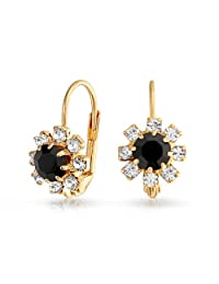 Bling Jewelry Simulated Onyx Crystal Flower Leverback Earrings Gold Filled