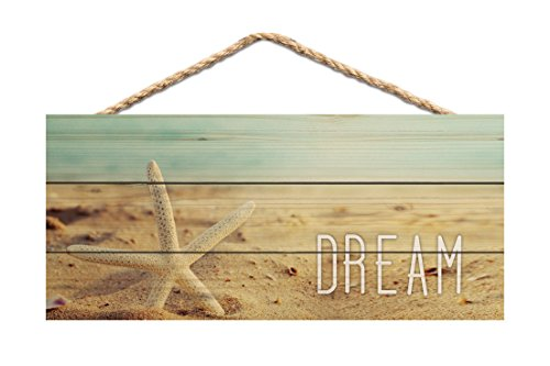 P. GRAHAM DUNN Dream Starfish Beach Printed 10 x 4.5 Wood Wall Hanging Plaque Sign