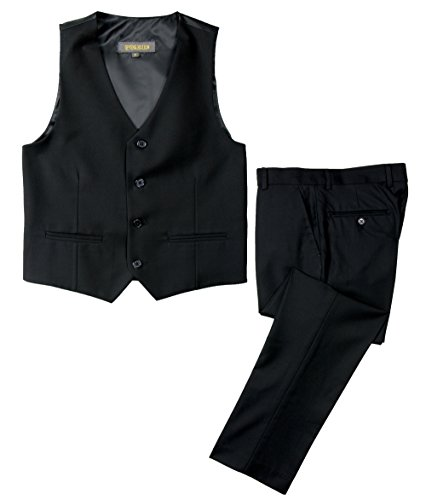Lined Two Button Suit - Spring Notion Big Boys' Two Button Suit Black 3T Vest and Pants