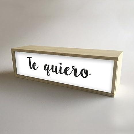 """Lámparas con cajas de madera y metacrilato frontal Blanco con mensaje """"Te quiero"""""""