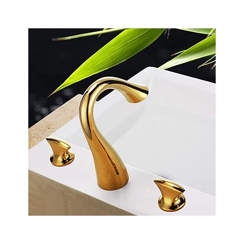 W&P Contemporary Waterfall Brass Ti-PVD Bathroom Sink Faucets low ...