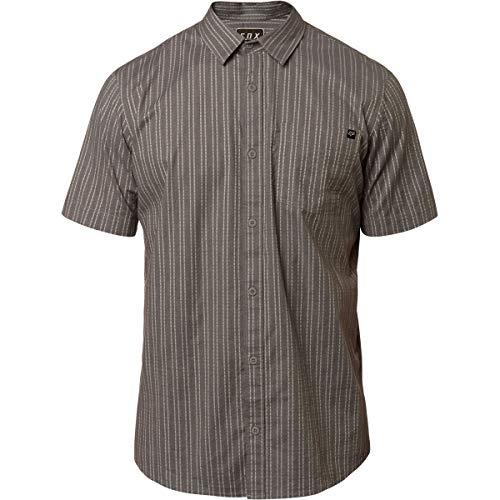 (Fox Men's BRANAM Stripe Short Sleeve Woven, Heather Graphite, XL)