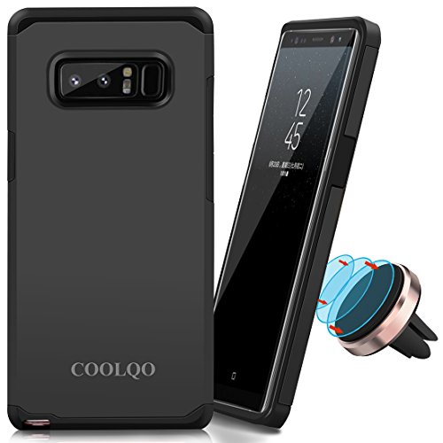 For Samsung Galaxy Note 8 Case, COOLQO [Dual Layer] [Shock Absorbent] Armor Hybrid Defender Anti-Drop Protective Shockproof Cover Skin + Phone metallic plate For any Magnetic Car Mount