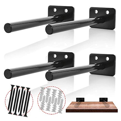 (SSC CREATIONS - Floating Shelves Support Brackets - Home Décor, Storage, Organization - 4 x Heavy-Duty Powder Coated Stainless Steel Blind Shelf Supports - 8 x Screws, 8 x Plastic Anchors)