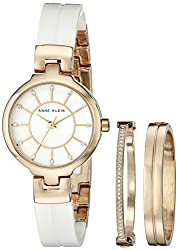 Anne Klein Women's AK/2048RGST Gold-Tone Bangle Watch with Two Coordinating Bracelets