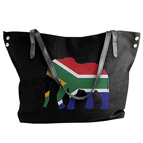 Elephant South Africa Flag Women Canvas Shoulder Bag Handbags Tote Bag Casual Shopping Bag by SHENQINGWENEN BAG