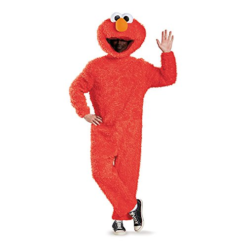 Disguise Men's Full Plush Elmo Prestige Adult Costume, Red, X-Large