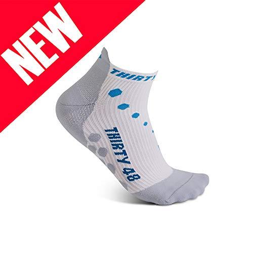 Thirty 48 Compression Low-Cut Running Socks Men Women (Large - Women 9-10.5 // Men 10-11.5, [1 Pair] Blue/White)