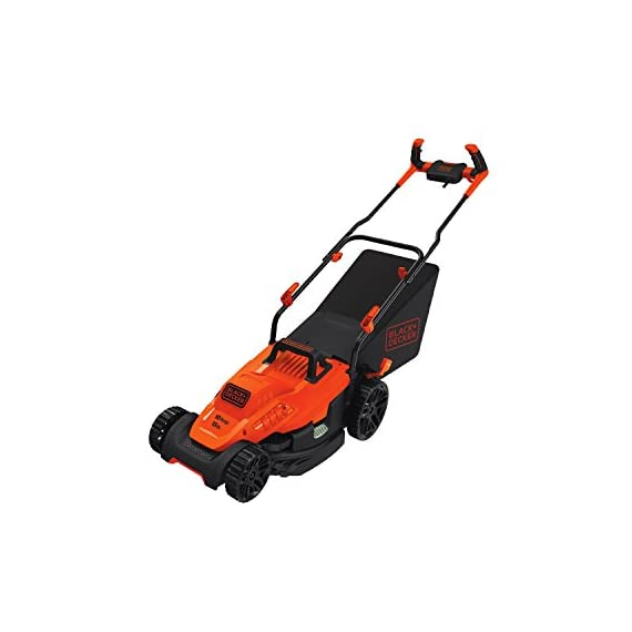 BLACK+DECKER Electric Lawn Mower, 10 -Amp, 15-Inch (BEMW472BH) 3 IMPROVED ERGONOMICS: Comfort grip handle makes the lawn mower easy to maneuver BETTER CLIPPING COLLECTION: Our winged blade achieves 30% better clipping collection NO MORE PULL CORDS: Push-button start makes starting the lawn mower a breeze