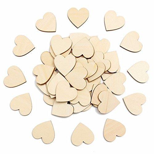 kdskdd de madera corazones Craft para–Figura de madera rústica decoración de la boda 4cm Pack de 50