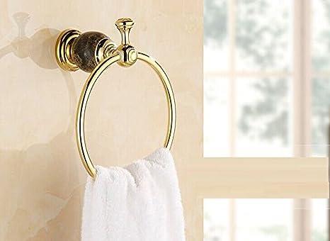 Yomiokla Accesorios de baño Toalla de Metal para Cocina, Inodoro, balcón y bañoToalla de baño chapada en Cobre Anillo Circular Independiente: Amazon.es: ...