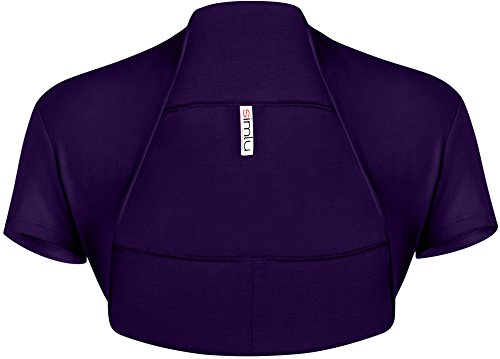 Simlu Long Sleeve Bolero Shrug For Women reg and Plus Size- Made In USA Plum Short Sleeve Large