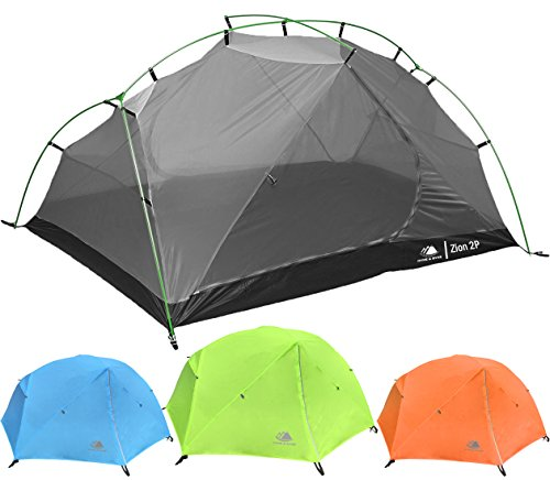 2 Person Backpacking Tent Hyke & Byke Zion 2P 3 Season Tent, Two Person Lightweight Design for Backpacking, Bike Packing, Thru Hiking, and Camping (Lime Green)