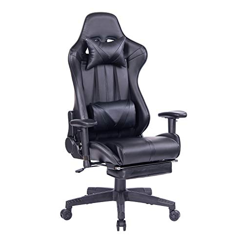 (Blue Whale Reclining PC Gaming Chair with Footrest,Adjustable Executive Office Desk Chair High Back Racing Computer Video Game Chair with Headrest and Lumbar Support BW-192 Black)