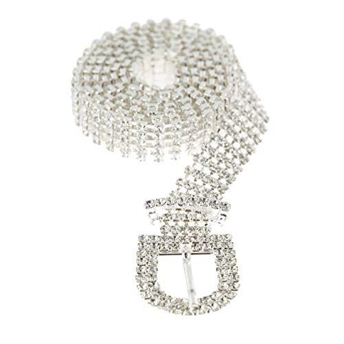 - SP Sophia Collection Glitterati 5 Row Chic Women's Fashion Crystal Rhinestone Buckle Chain Belt in Silver