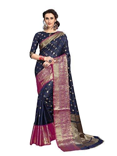 36ac75c401 Soru Fashion Striped Kanjivaram Art Silk, Banarasi Silk, Jacquard Saree  (625_Dark Blue): Amazon.in: Clothing & Accessories