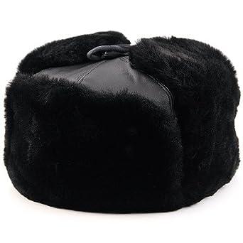 8fa413f8b84f5 Amazon.com  Military Paraphernalia Hat. Black Bomber Ushanka Hat (M ...