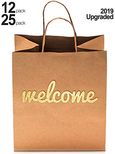 Welcome Gift Bags - 25 Pack - 180gsm High Quality Heavy Duty Paper - Double Sided Gold Foil - 10.5