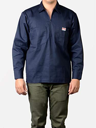 Ben Davis Long Sleeve Shirts Men Pockets Navy 268 Half Zipper