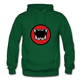Bradfohod X-large Regular Green Hoodies - Mouth Monster Halloween Horror Rice Teeth Print,women