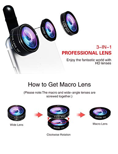 5-in-1 phone lens, 20x telephoto lens, 0.63x wide-angle lens, macro lens, fisheye lens, eye mask, Telescope Camera Mobile Zoom lens compatible iPhone Samsung Galaxy Huawei and most Android smartphones by Bostionye (Image #3)