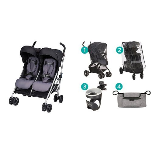 Evenflo Minno Twin Double Stroller, Glenbarr Grey with Stroller Accessories Starter Kit
