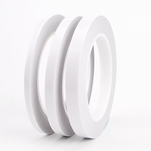 AIEX 3 Rolls Double Sided Tape Heavy Duty Removable Two Sided Adhesive Tape for DIY Arts, Crafts, Scrapbook, Photos Display(1/4
