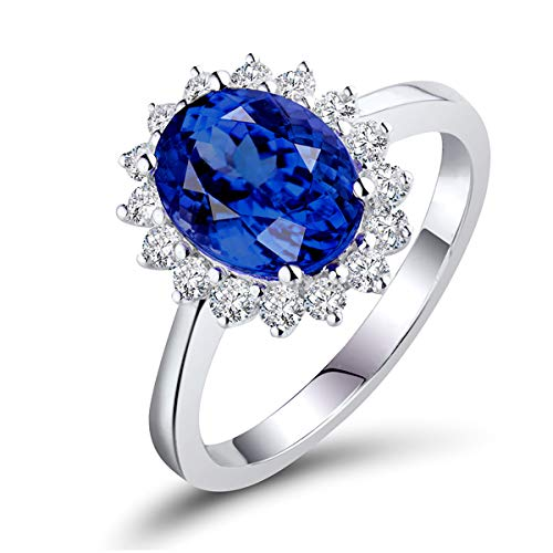 Beyond jewelry Natural Diamond Sapphire Solid 14K White Gold Engagement Cluster Ring
