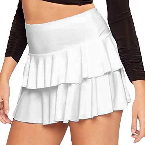 AHAYAKU Fashion Women Summer Solid Pleated Skirts Sexy High Waist Mini Short Skirts White